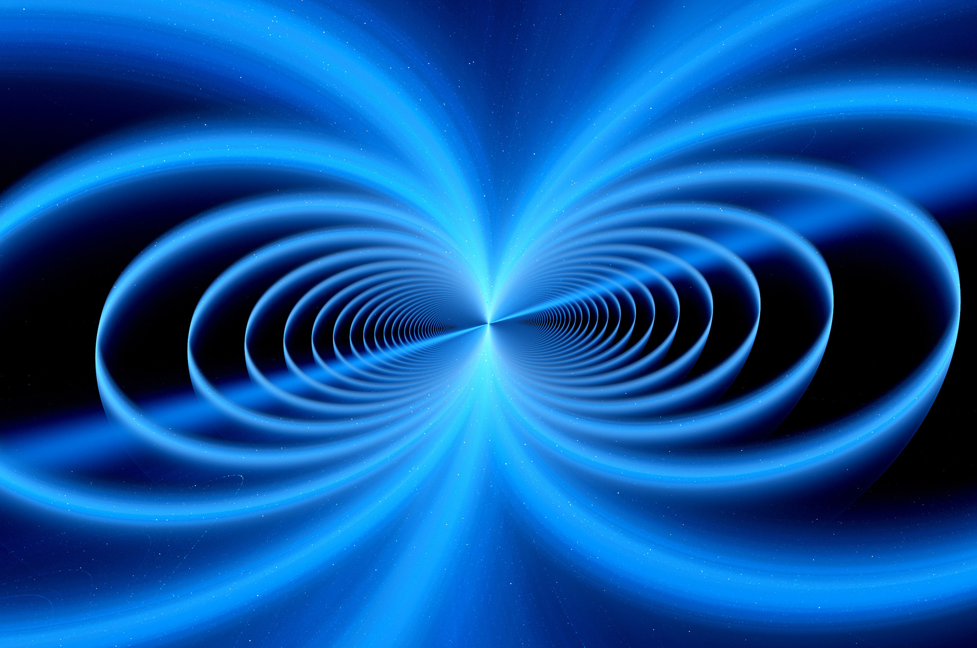 Blue glowing magnetic field fractal